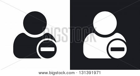 Vector remove user icon with minus glyph. Two-tone version on black and white background