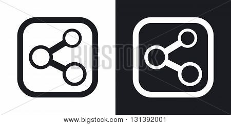 Vector share sign or icon. Two-tone version on black and white background