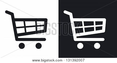 Vector shopping cart icon. Two-tone version on black and white background