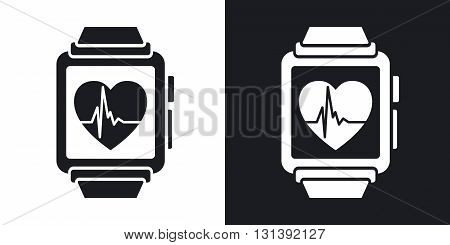 Vector smart watch with health app icon. Two-tone version on black and white background