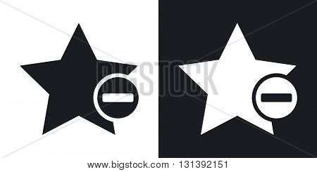 Vector star favorite icon with minus glyph. Two-tone version on black and white background