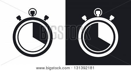 Vector stopwatch icon. Two-tone version on black and white background