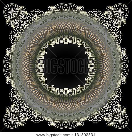 abstract tracery vintage pattern on a dark background