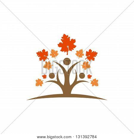 People like tree with wine leafs vector illustration isolated on white background.