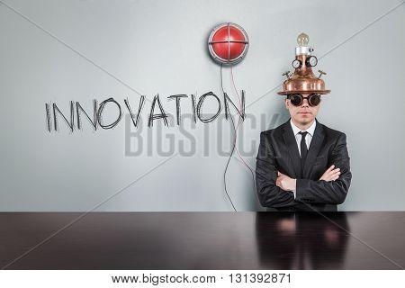 Alert light concept and vintage businessman in office