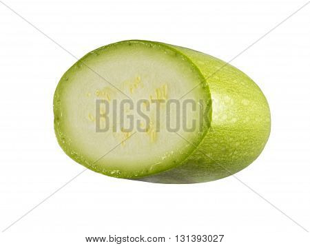 Squash (vegetable marrow) isolated on white background with clipping path. Closeup with no shadows. Vegetable. Food. Eating vegetarian. Half of vegetable marrow.