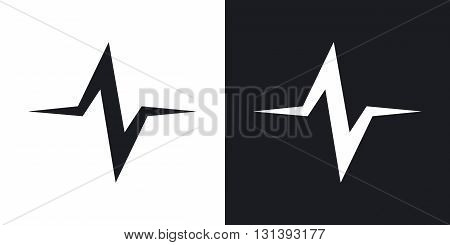 Vector sound wave icon. Two-tone version on black and white background