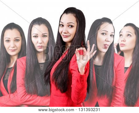 Collage of young woman with different emotions isolated on white
