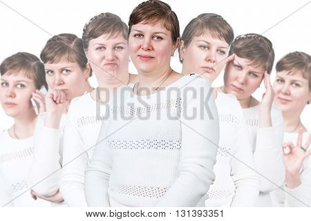 Adult fat woman with different emotions isolated on white background