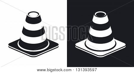 Vector traffic cone icon. Two-tone version on black and white background