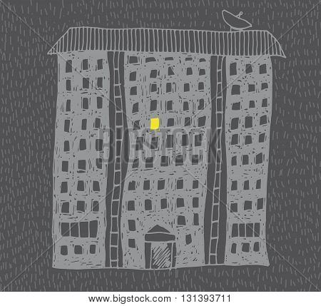 Hand drawn vector living block in night with one luminous window.