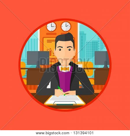 Businessman signing a business contract in office. Man is about to sign a business contract. Confirmation of transaction by signing of business contract. Vector flat design illustration in the circle.