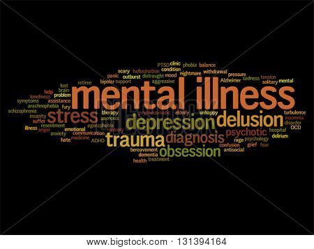 Vector concept conceptual mental illness disorder management or therapy abstract word cloud isolated on background