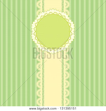 Lace and stripes green background vintage style Greeting card template or background
