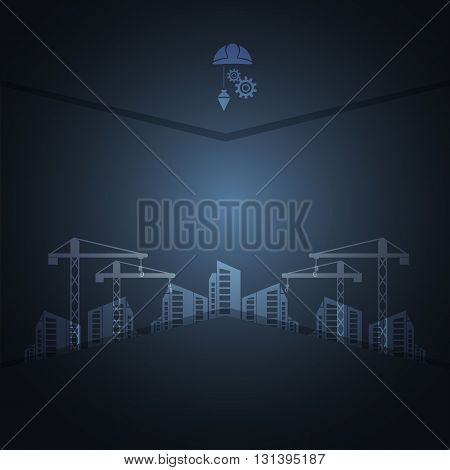 Construction concept navy blue background vector illustration