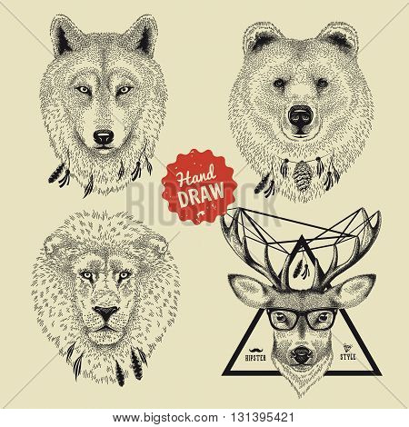 Vector sketch of wild animal heads bear wolf lion deer in hipster style