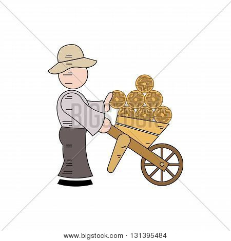Cartoon character of a woodcutter carrying logs vector illustration isolated on white background.