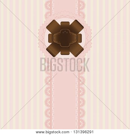 Pink and chocolate label background vintage style Greeting card template or background