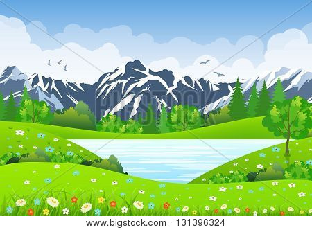 Summer landscape with meadows and mountains. lake and forest, nature landscape, vector background. vector illustration in flat design