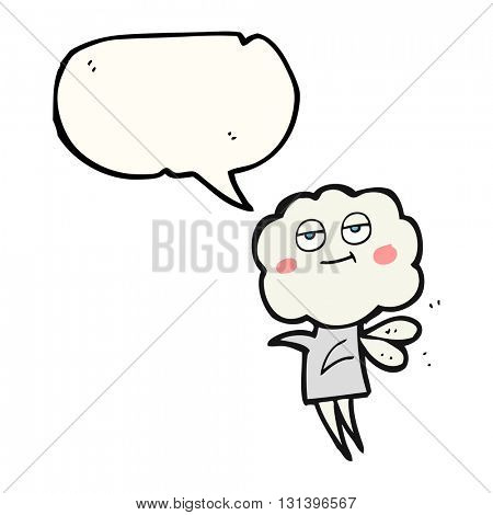 freehand drawn speech bubble cartoon cute cloud head imp