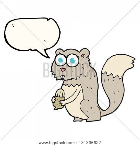 freehand drawn speech bubble cartoon angry squirrel with nut