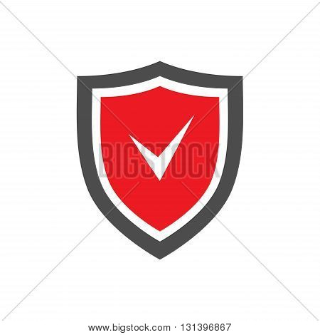 Protection shield icon with red center and tick sign on it placed on white background