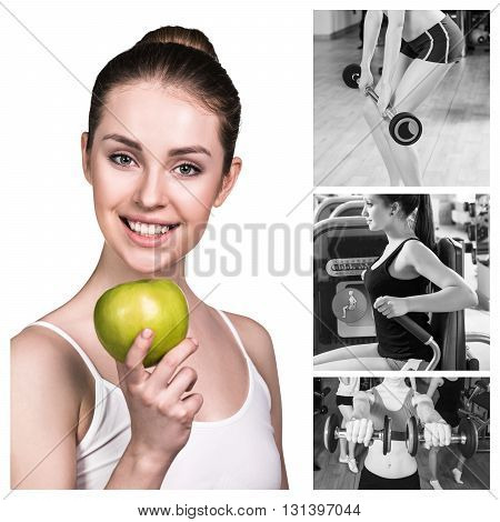 Collage of beautiful woman holds green apple and training at the gym. Concept of dieting healthy lifestyle