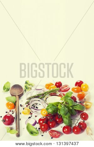 Fresh vegetables over white background - Healthy eating, Vegetarian or Cooking concept