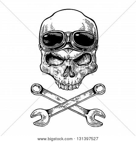 Skull smiling with glasses for motorcycle on forehead and bones. Black vintage vector illustration. For poster and tattoo biker club. Hand drawn design element isolated on white background
