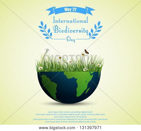 Vector illustration of Green grass and flowers inside earth for International biodiversity day background
