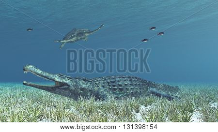 Computer generated 3D illustration with the extinct crocodile Sarcosuchus and the extinct sea turtle Archelon