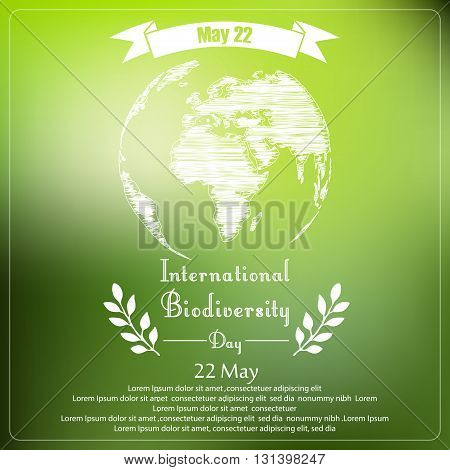 Vector illustration of International biodiversity day of shape typography