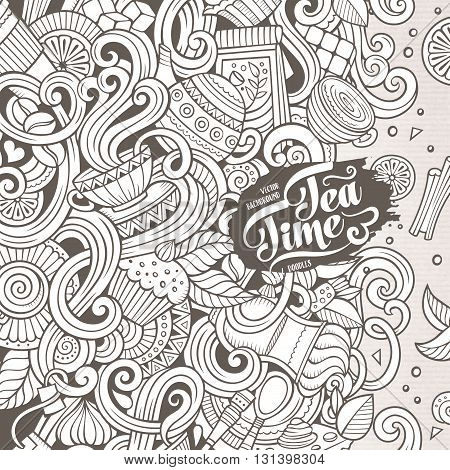 Cartoon hand-drawn doodles cafe, coffee shop illustration. Line art detailed, with lots of objects vector design background