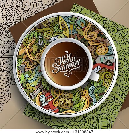 Vector illustration with a Cup of coffee and hand drawn camp doodles on a saucer, paper and background