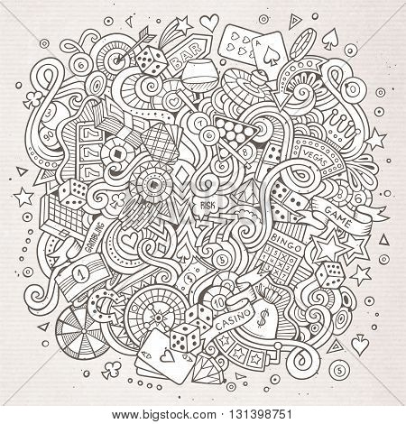 Cartoon hand-drawn doodles casino, gambling illustration. Line art detailed, with lots of objects vector design background