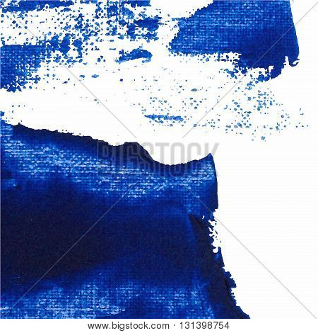 Vector Abstract Background Texture Brush Stroke Hand Painted With Acrylic Paint, Blue On White Color