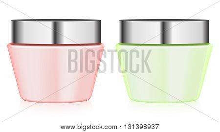 colorful jars with cream on white background