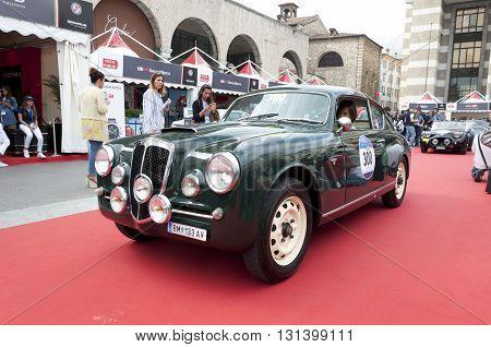 BRESCIA, ITALY - MAY 18: LANCIA AURELIA B20 GT PININ FARINA 2000 1954 built on Mille Miglia,the famous race for retro cars, May 18,2016 in Brescia,Italy