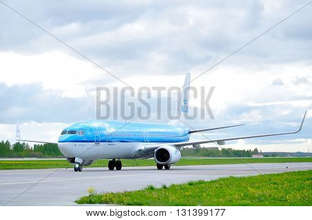 SAINT PETERSBURG RUSSIA-MAY 112016. KLM Royal Dutch Airlines Boeing 737 Next Gen airplane-registration number PH-BXT. Airplane rides on the runway after landing