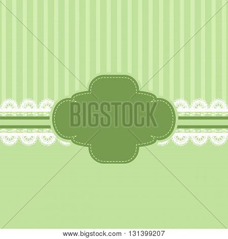Green and lace ribbon background vintage style Greeting card template or background