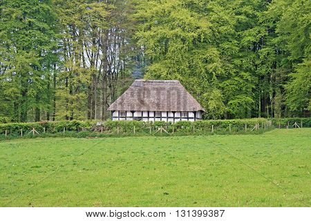Ancient thatched cottage in the Welsh countryside