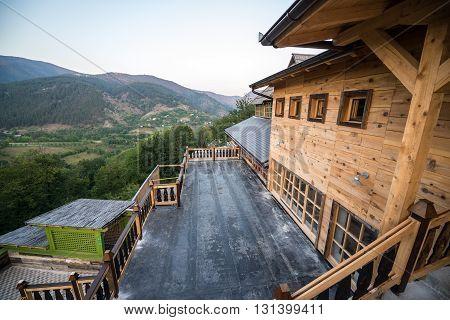 Drvengrad, Serbia - August 28, 2015: Wooden building in traditional Drvengrad village