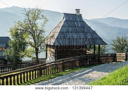 Drvengrad, Serbia - August 28, 2015: Wooden cottage house in traditional Drvengrad village