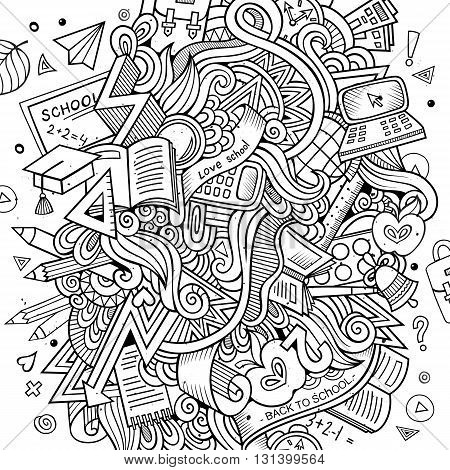 Cartoon vector hand drawn Doodle on the subject of education. Sketchy design background with school objects and symbols.