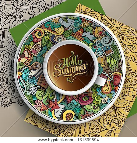 Vector illustration with a Cup of coffee and hand drawn summer doodles on a saucer, paper and background