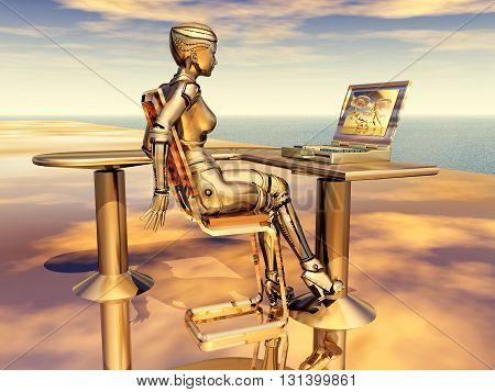 Computer generated 3D illustration with female robot and laptop