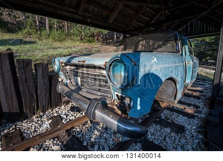 old railroad handcar on the statiion of Sargan Eight narrow gauge railway from the village of Mokra Gora to Sargan Vitasi in Serbia