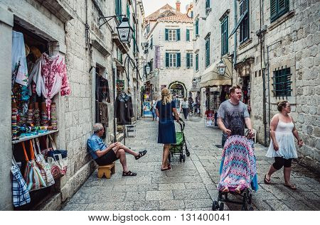 Dubrovnik Croatia - 26th August 2015. Tourists walks on a street of the Dubrovnik's Old Town