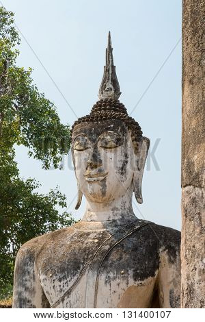 ancient ancient Buddha statues in the ancient Thai capital of Ayutthaya in the temple ruins