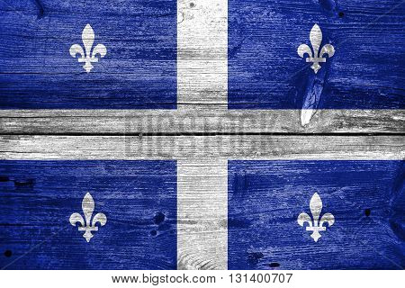 Flag Of Quebec, Painted On Old Wood Plank Background